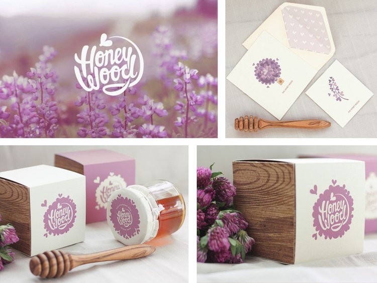 honeywood collage of packaging and design
